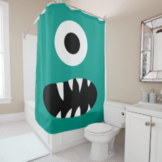Kids Choose Color Monster Face One Eyed Green Shower Curtain