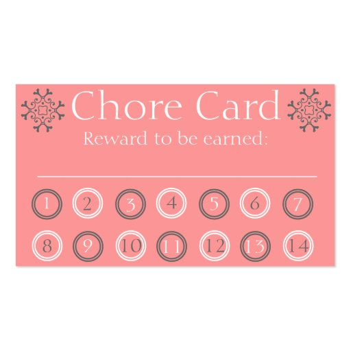 kids chore punch card double sided standard business cards pack of 100 zazzle. Black Bedroom Furniture Sets. Home Design Ideas