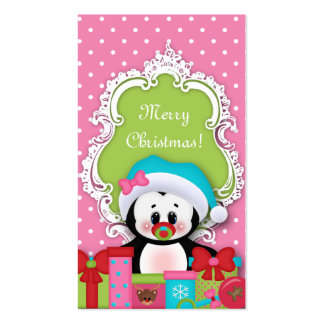 Kids Christmas Gift Tag Penguin Baby Shower Business Card