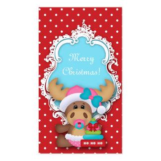 Kids Christmas Gift Tag Polka Dot Baby Shower Business Card