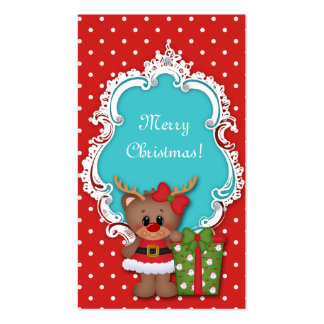 Kids Christmas Gift Tag Reindeer Baby Shower Business Card