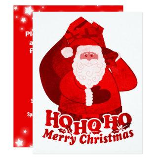 Kids Christmas party invitation Santa red