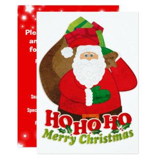 Kids Christmas party invitation Santa red & green