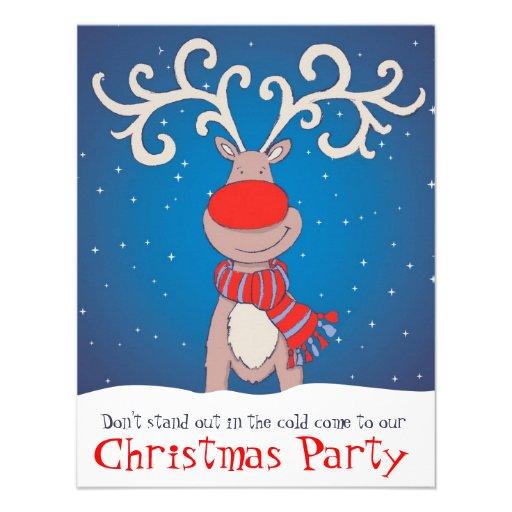 Kids christmas party invitation snowed reindeer 4 25 quot x 5 5