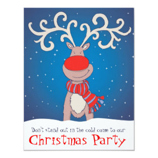 Kids Christmas party invitation snowed reindeer