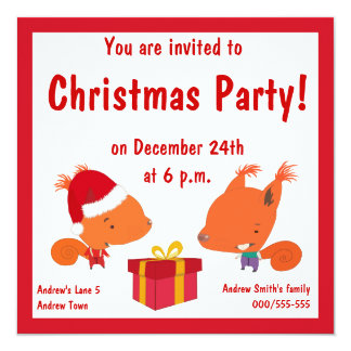 Kids Christmas Party Invitations With Squirrels