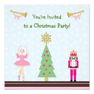 Kids Christmas Party - tree,ballerina, Nutcracker 5.25x5.25 Square Paper Invitation Card