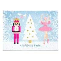 Kids Christmas Party - tree, ballerina, Nutcracker 4.5x6.25 Paper Invitation Card