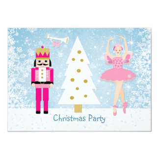 Kids Christmas Party - tree, ballerina, Nutcracker 4.5x6.25 Paper Invitation Card