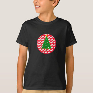 Kids Christmas Tree Shirt with red chevrons -
