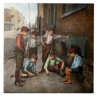 Kids - Cincinnati OH - A shady game 1908 Ceramic Tile