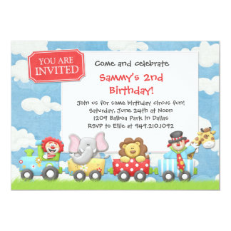 "Kids Circus Birthday Party Invitation 5"" X 7"" Invitation Card"
