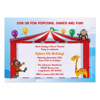 Kids Circus Birthday Party Invitations Large Business Card