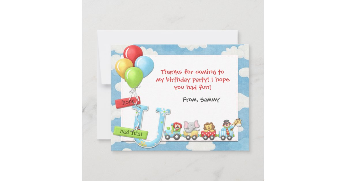 Thank You Card Circus Birthday Party All occasion card baby shower thank you CIRCUS carnival Greeting Card vintage