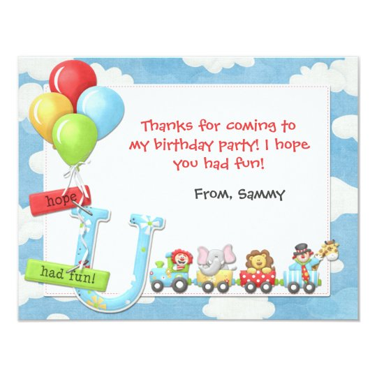 Kids Circus Birthday Party Thank You Card
