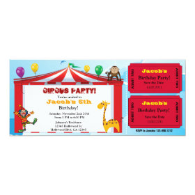 Kids Circus Birthday Ticket Invites 4