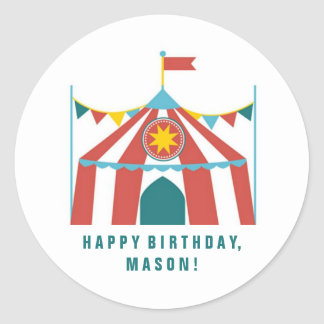 Kid's Circus Theme Birthday Party Favor Stickers
