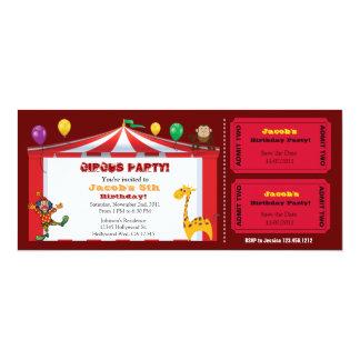 Kid's Circus Ticket Birthday Invites