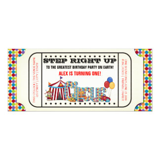 Kids Circus Ticket Birthday Party 4x9.25 Paper Invitation Card