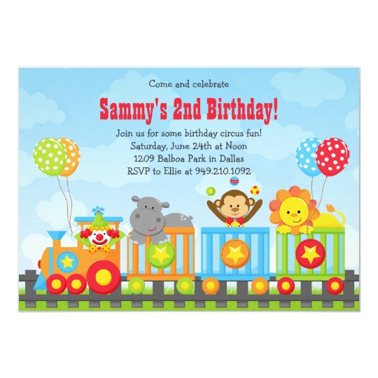 Kids Circus Train Birthday Party Invitation Zazzlecom