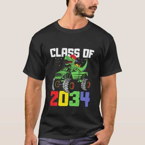 Kids Class Of 2034 Graduation T Rex Monster Truck T_Shirt
