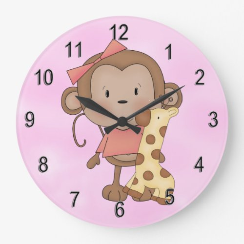 Kid's Clock Cute Baby Girl Monkey