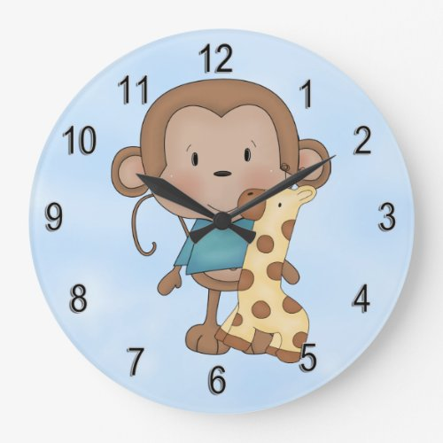 Kid's Clock Cute Baby Monkey Boy