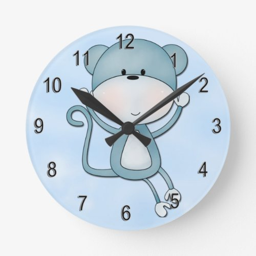 Kid's Clock Cute Blue Monkey