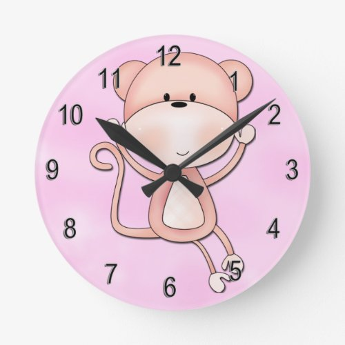 Kid's Clock Cute Pink Monkey