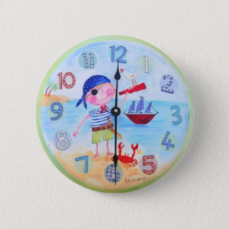 """Kids Clock Style Button -'The Pirate"""""""