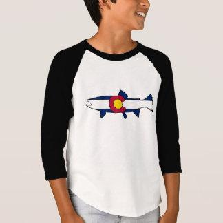 Kids Colorado flag trout fish reglan shirt