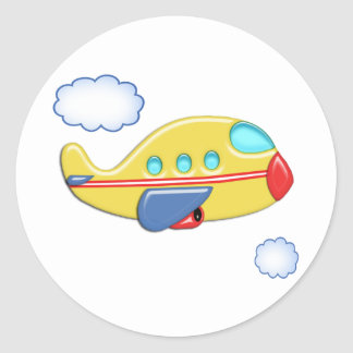 Kid's Colorful Airplane Classic Round Sticker