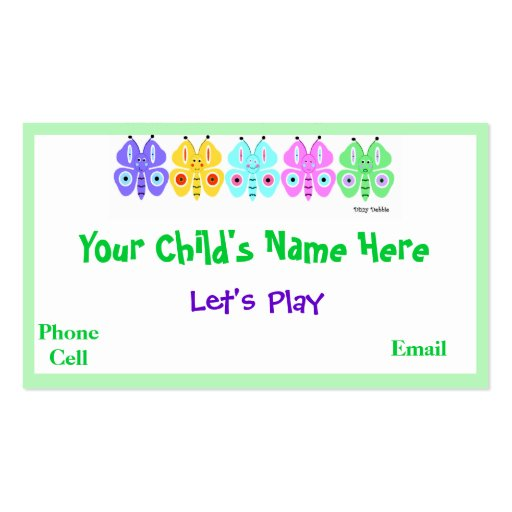 Kidu0026#39;s Colorful Butterfly Calling Cards Business Card ...