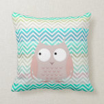 Kids Colorful Pastel Owl Chevron Pillow