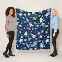 Kids Colorful Personalized Outer Space Astronauts Fleece Blanket