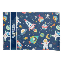 Kids Colorful Personalized Outer Space Astronauts Pillow Case