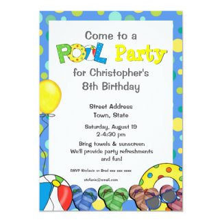 Kids' Colorful Pool Party Invitation