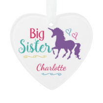 Kids Colorful Unicorn Big Sister Sibling Girls Ornament