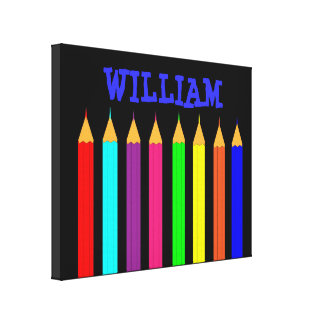 Kids Coloring Pencils Personalized Name Picture Canvas Print