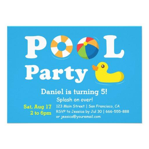 Kids Colourful Splash Birthday Backyard Pool Party Invitations