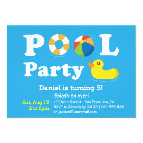 Kids Colourful Splash Birthday Backyard Pool Party 4.5x6.25 Paper Invitation Card