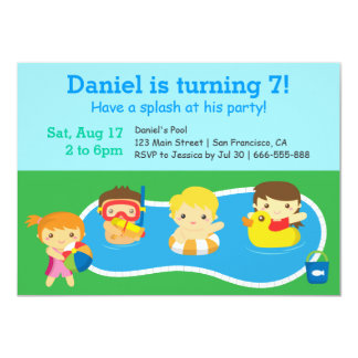 Kids Colourful Splash Birthday Pool Party Card