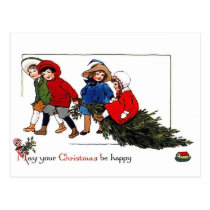 Kids coming with Christmas tree vintage holiday Postcard