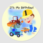 Kids Construction 1st Birthday T-shirts and Gifts Round Stickers
