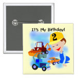 Kids Construction 2nd Birthday Tshirts and Gifts Pin