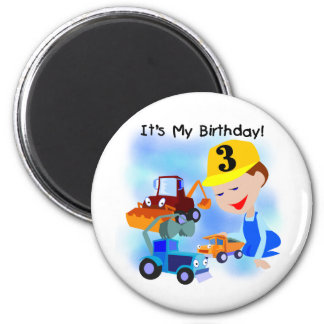 Kids Construction 3rd Birthday T-shirts and Gifts 2 Inch Round Magnet