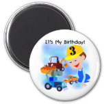 Kids Construction 3rd Birthday T-shirts and Gifts Refrigerator Magnets
