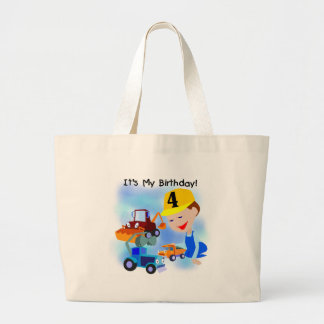 Kids Construction 4th Birthday T-shirts and Gifts Tote Bags