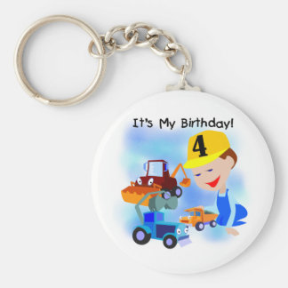 Kids Construction 4th Birthday T-shirts and Gifts Basic Round Button Keychain