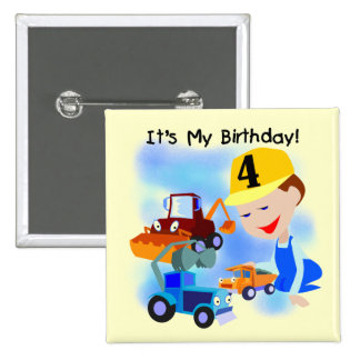 Kids Construction 4th Birthday T-shirts and Gifts Pinback Button